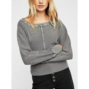 Free People Gray Remy Thermal Long Sleeve T-Shirt